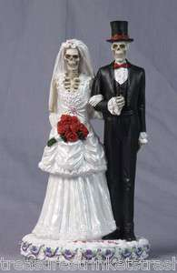 NEW Love Never Dies Wedding Skulls Bride & Groom Cake Topper Bridal