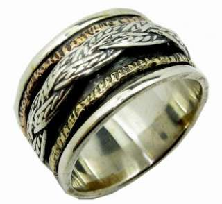 Mens ring spinner rings anillos plata silver 9 ct gold bague tube