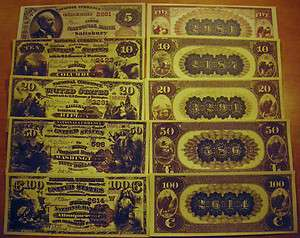 1882 5 Pc National Currency Brown Back Set US Paper Money Copy