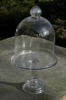 Pressed Glass Pedestal Cake Plate & Bell Jar Cloche Set MINT