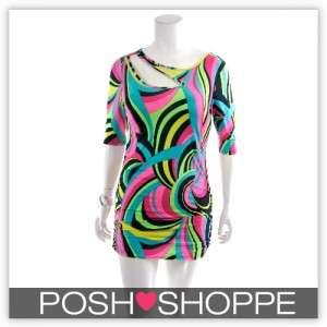 Womens Plus Size Clothing Dress CutOut Tunic Retro Print Sexy US XXXL