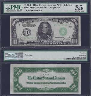 1934A $1000 ONE THOUSAND DOLLAR BILL FEDERAL RESERVE NOTE FRN PMG