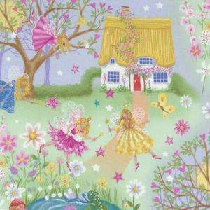 Fairies Fairy Pink Green Blue Floral Hearts Cottage Stars Fabric