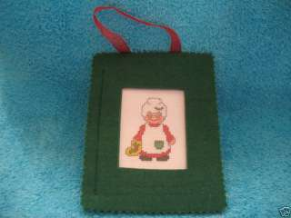 Completed Counted Cross Stitch Mrs Claus Felt Frame