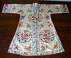 Chinese Female Rose Embroidered Silk Shirt Robe Forbidden Stitch