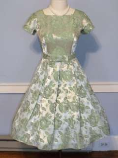 50s/60s VINTAGE ROSE BROCADE FULL SKIRT PARTY DRESS PINUP ROCKABILLY