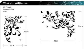DIY Decorative Vine Flower Wall Stickers / Wall Decals