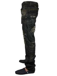 NEW MENS BLACK CRU 10 HARLEY DESIGNER BRANDED TAPERED FIT DENIM JEANS