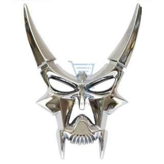 Crystal Edge   Chrome Look Horned Skull Shape Car Badge/Decal FREE P&P
