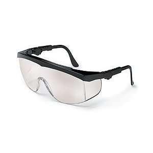 Crews Tomahawk Safety Glasses   Black Frame, I/O Clear Mirror Lens