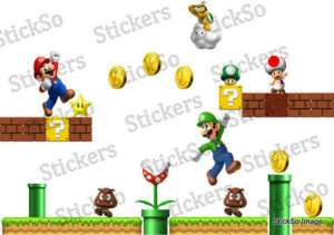 Super Mario Scene REPOSITIONABLE WALL STICKER Nintendo