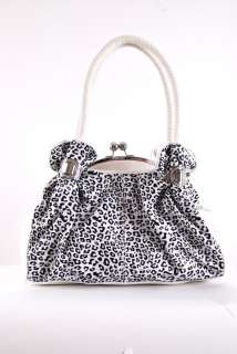 Exotic Leopard Print Kiss Lock Satchel Handbag   WHITE