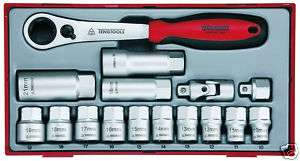 TENG TOOLS 16pc Push THROUGH SOCKET Set 3/8Dr TTTH16