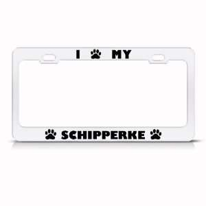 Schipperke Dog White Animal Metal license plate frame Tag