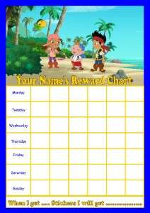JAKE NEVERLAND PIRATES PERSONALISED REWARD CHART WITH RE USABLE