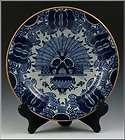 Wonderful 18thC Signed Delf Plate in War Bonnet Pattern