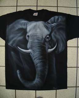 Airbrushed Elephant Design on a Black T shirt in any Size just choose