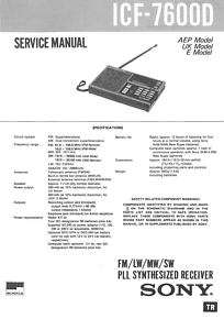 SONY ICF 7600D COMPLETE SERVICE MANUAL SUPPLIED ON CD