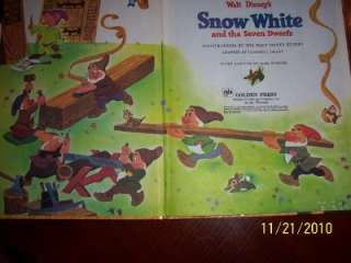 old big GOLDEN BOOK Walt Disney SNOW WHITE seven dwarfs
