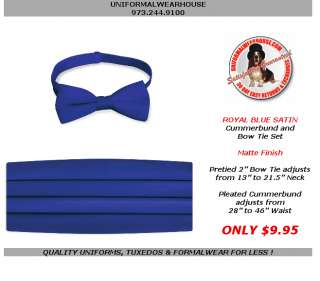 Adult ROYAL BLUE Satin Tuxedo Cummerbund Bow Tie NEW