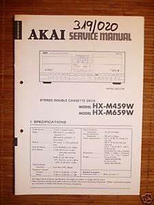 Service Manual Akai HX M459W/M659W Tape Deck,ORIGINAL