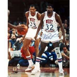 Magic Johnson   All Star Game with Kareem   Autographed 16x20
