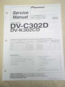 Pioneer Service Manual~DV C302D/K302CD DVD Player~Original~Repair