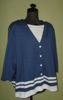 NWT CATHY DANIELS Blue/White Knit Top 3X 22 24 22W 24W