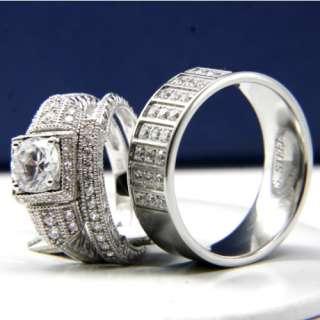 3pcs His and Hers Engagement Mens and Womens Wedding Bridal Band Ring