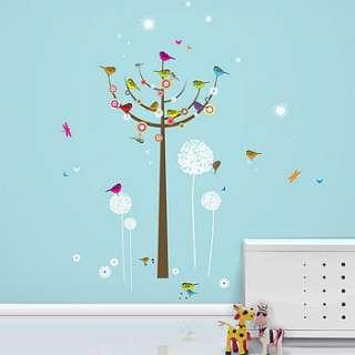 birdie tree giant wall stickers by funky little darlings