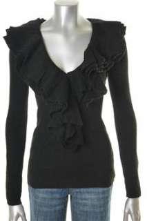 Trina Turk NEW V Neck Pullover Sweater Black Wool Ruffled Misses L