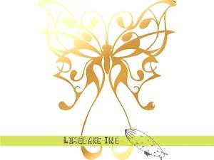 Pinstripe Butterfly Gold Decal Sticker Car Tattoo CULT