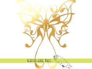 Pinstripe Butterfly Gold Decal Sticker Car Tattoo CULT