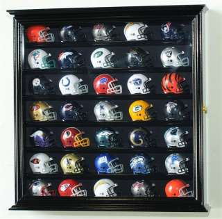 32 Pocket Pro Pros Mini Helmet Display Case Cabinet UV