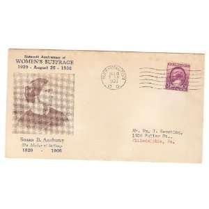 Hubbard (58) First Day Cover, Susan B. Anthony, 1936