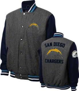 San Diego Chargers Grey Wool Varsity Jacket