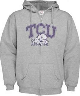 TCU Horned Frogs Grey Distressed Mascot Full Zip Hooded Sweatshirt