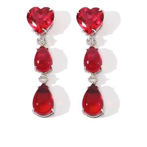 Yours by Loren 20ct Red Quartz and White Topaz Sterling Silver Heart