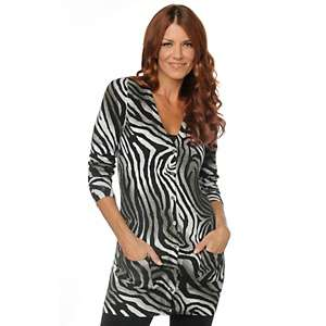 DG2 Animal Print Knit Cardigan Tunic