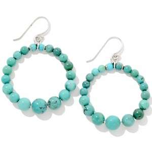 Sonoma Studios Turquoise Bead Sterling Silver Hoop Earrings