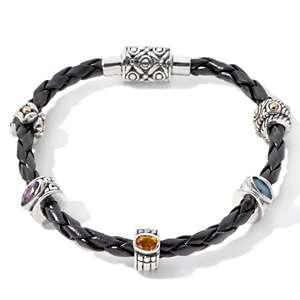 Bali Designs by Robert Manse Black Leather Bracelet with Decorative