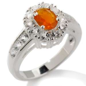 53ct Mexican Fire Opal and White Topaz Sterling Silver Oval Ring at