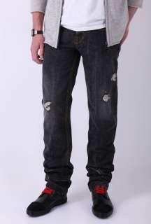 Super Washed Black Broken Slim Fit Jeans by D&G Dolce&Gabban