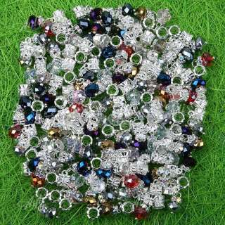 100P Mix Color Crystal Dangle Beads Fit Charm Bracelet