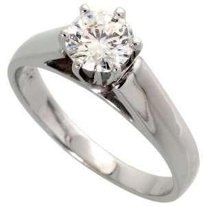14k White Gold Solitaire Ring, w/ 0.60 Carat Brilliant Cut Diamond, 1