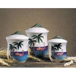 : Pink Flamingo Palm Tree Kitchen Canister Set of 3: Kitchen & Dining