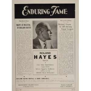 1947 Roland Hayes Tenor Black Americana Booking Ad   Original Booking