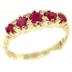 Antique Style Solid Yellow Gold Natural Ruby Ring with
