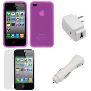 White USB Home Travel Charger + Purple Silicone Skin Soft Cover Case