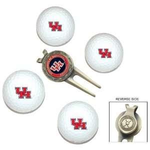Houston Cougars 4 Golf Ball Divot Tool/Ball Marker Gift Set   Golf